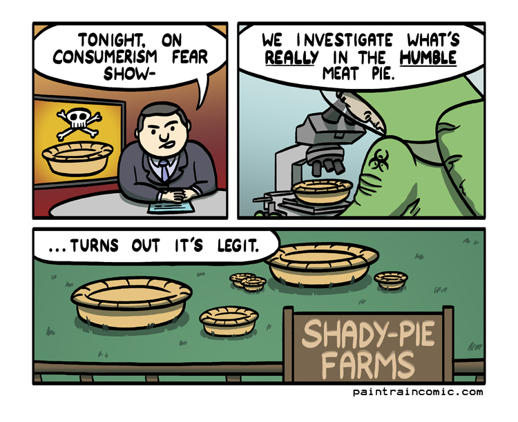 ''Tomorrow night - what's in the grass our humble meat pies eat???''