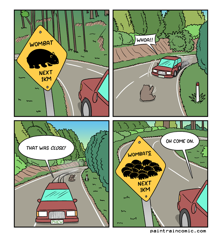 It's hard to not instantly spoil punchlines when they're about bright, legible signs with contrasting colour schemes AND stick to your 2x2 panel format!