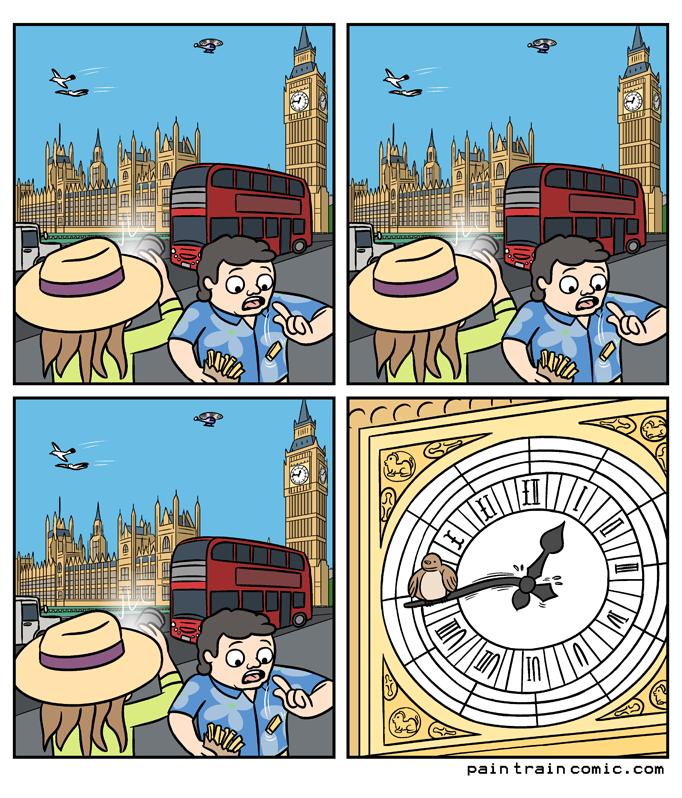 London bridge is falling down / falling down, falling down / London bridge is falling down / but it's very hard to tell